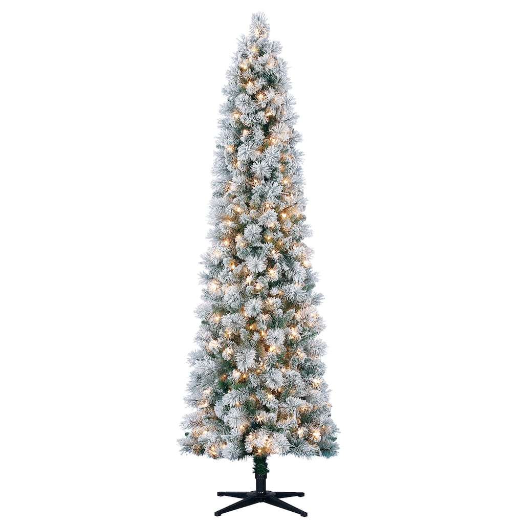 7ft. Pre-Lit Mixed Flocked Slim Artificial Christmas Tree, Clear ...