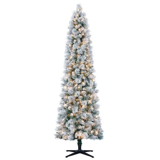 Pre-Lit Mixed Flocked Slim Artificial Christmas Tree, Clear Lights by  Ashland™ - 7ft. Pre-Lit Mixed Flocked Slim Artificial Christmas Tree, Clear