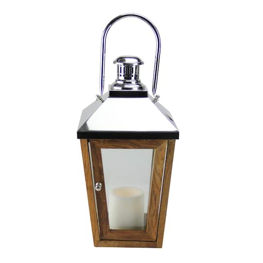 24.75″ Beach Day Stainless Steel & Sheesham Wood Lantern