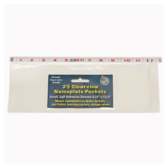 name plate small clear pockets 3 packs of 25