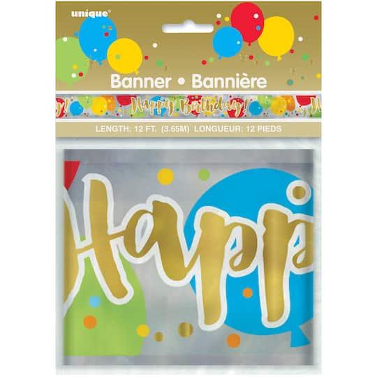 Foil Glitzy Balloon Happy Birthday Party Banner