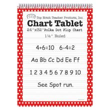 "24"" x 32"" Apple Red Polka Dot Chart Tablet, 1.5"" Ruled"