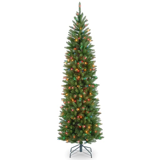 65 ft pre lit kingswood fir pencil artificial christmas tree multicolor lights