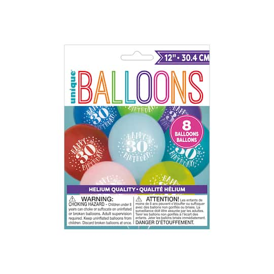 "5 Hello 30 Confetti 30th Milestone Balloons 12/"" Latex Birthday Party Sparkle"