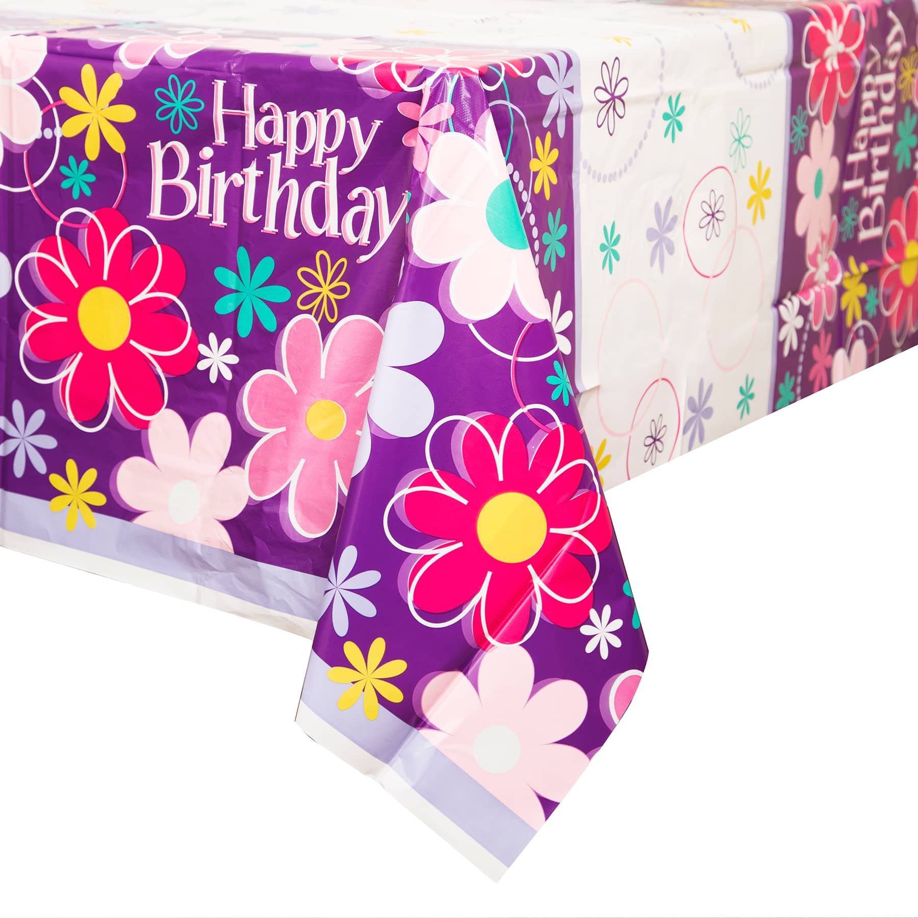 Plastic Blossom Birthday Party Table Cover 84\  x 54\   sc 1 st  Michaels Weddings & Birthday Blossom Plastic Table Cover 84\
