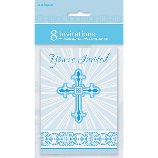 radiant blue cross religious invitations first communion and