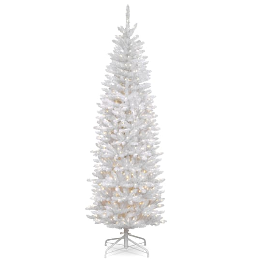 65 ft pre lit kingswood white fir hinged pencil artificial christmas tree clear lights