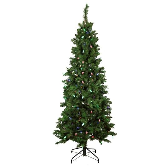 7 Ft. Pre-Lit Single Plug Slim Mixed Long Needle Pine Artificial Christmas  Tree, Multi-Function LED Lights. img. img img img img - 7 Ft. Pre-Lit Single Plug Slim Mixed Long Needle Pine Artificial