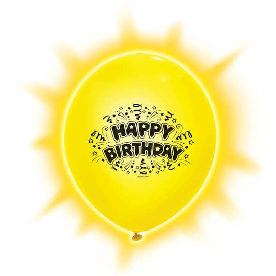 9 Happy Birthday LED Light Up Balloons Assorted 5ct Img