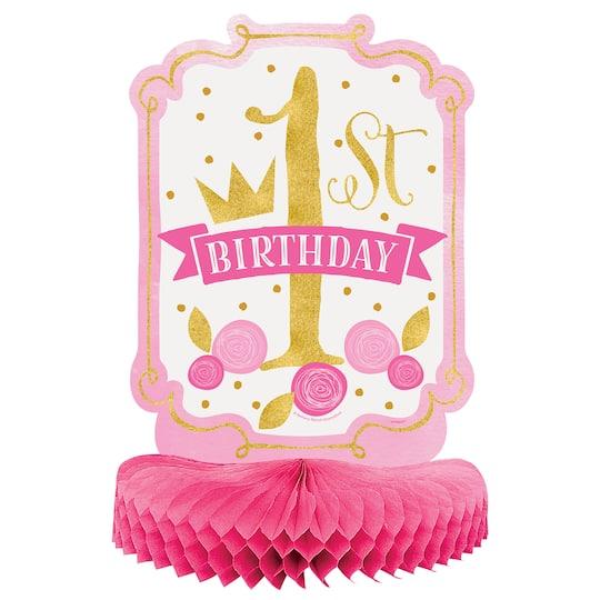 Pink And Gold Girls 1st Birthday Centerpiece Decoration 14