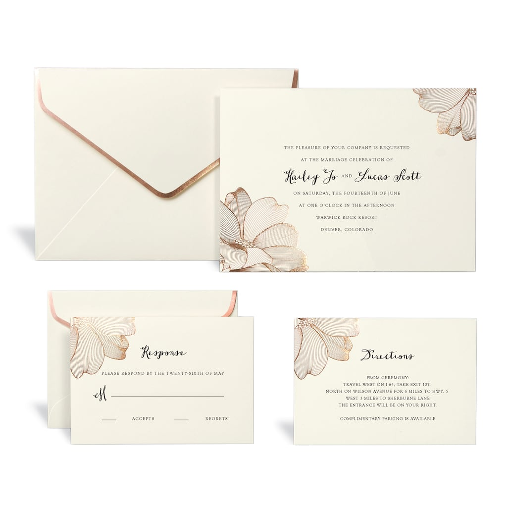 Rose Gold Floral Wedding Invitation Kit By Celebrate It™