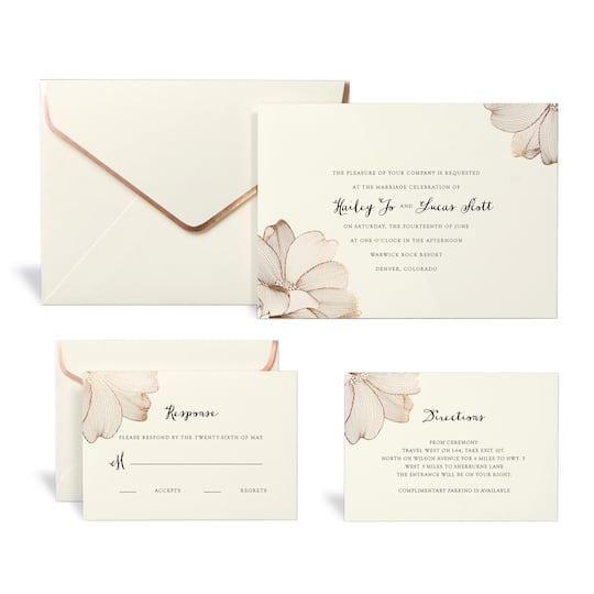 Shop for the Rose Gold Floral Wedding Invitation Kit By Celebrate It ...