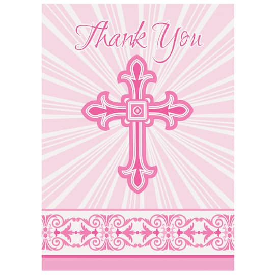 Radiant Pink Cross Religious Thank You Cards First Communion And