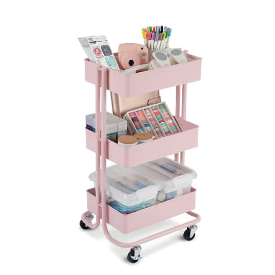 Find The Lexington Blush 3 Tier Rolling Cart By