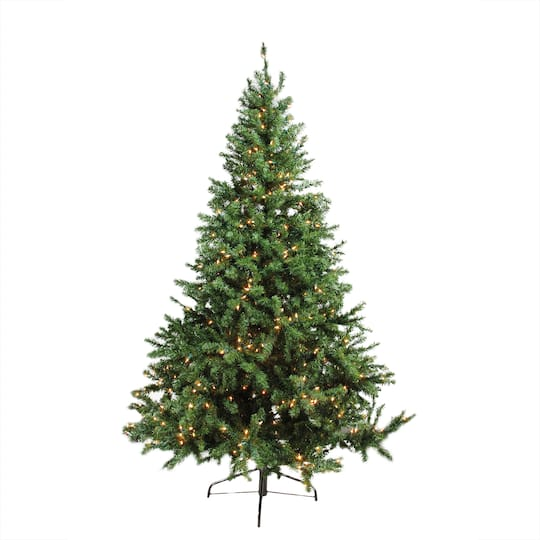 7 Ft Pre Lit Canadian Pine Artificial Christmas Tree Clear Lights