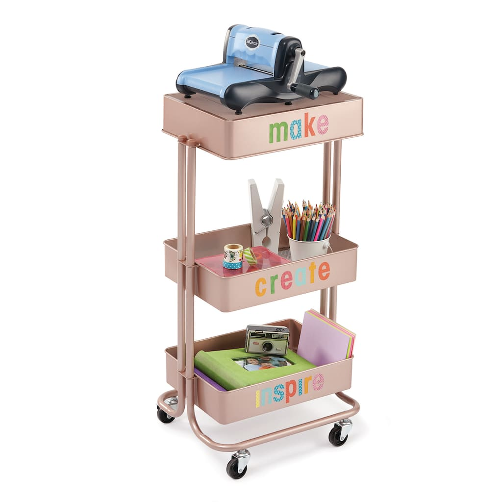 Rose Gold Lexington 3 Tier Rolling Cart By Recollections Img