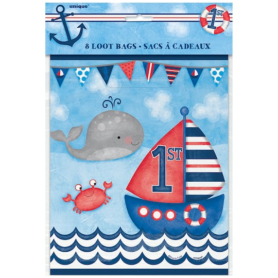 Nautical 1st Birthday Goodie Bags 8ct