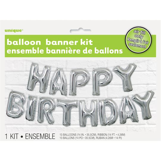 cc0822e49 Foil Happy Birthday Balloon Word Banner Kit | Birthday Party Decorations