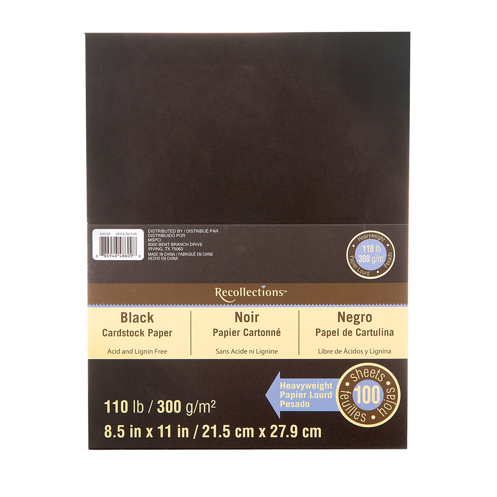 Recollections Black Heavyweight Cardstock Paper 8.5 X 11-100 Sheets