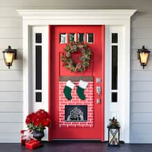 christmas fireplace door dcor - Burlap Christmas Decorations For Sale