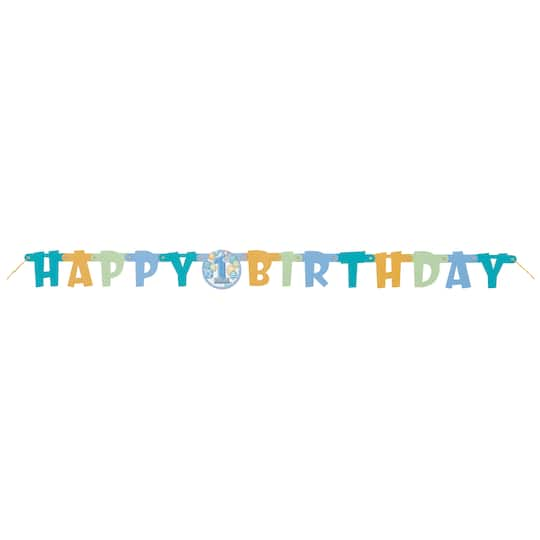 Blue Balloons First Birthday Letter Banner