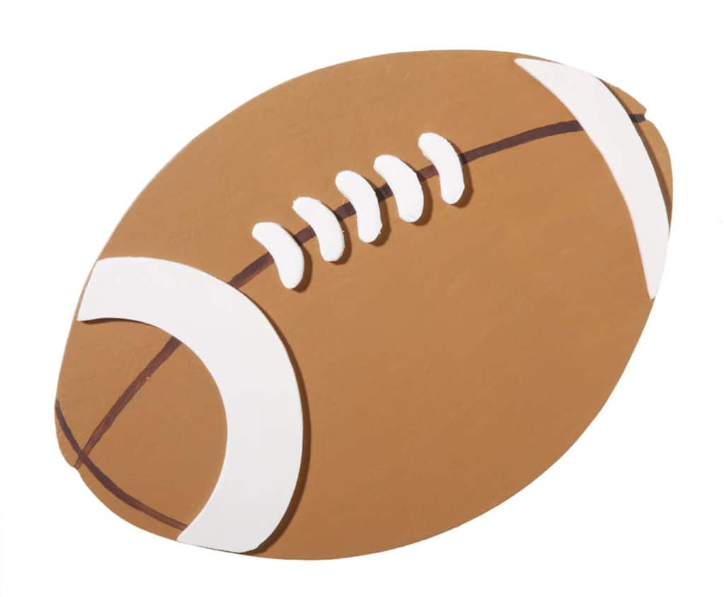 Painted Wood Football Shape 4 75 X 6 Inches