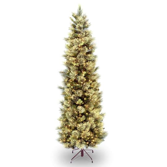 Flocked Pre Lit Christmas Tree.7 5 Ft Pre Lit Carolina Pine Slim Artificial Christmas Tree With Flocked Pine Cones Clear Lights