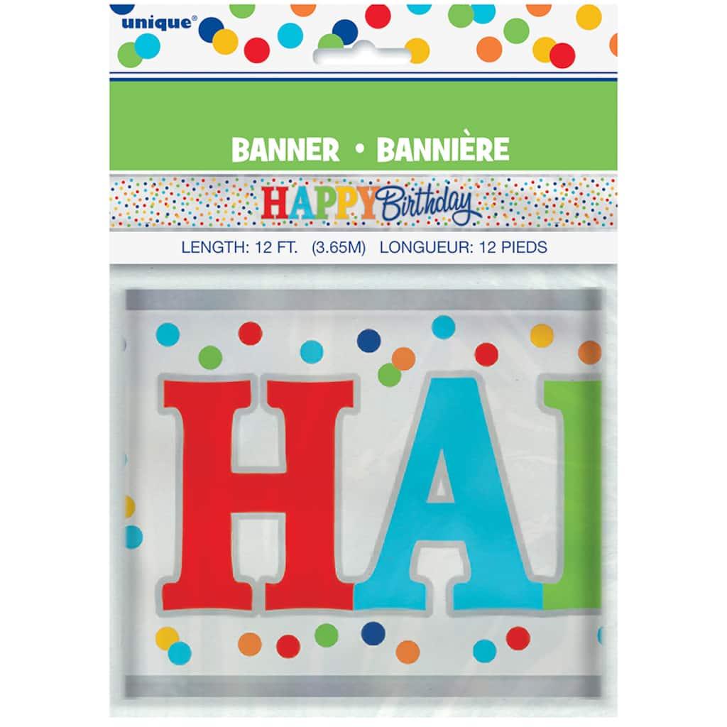 Rainbow Dot Confetti Party Banner
