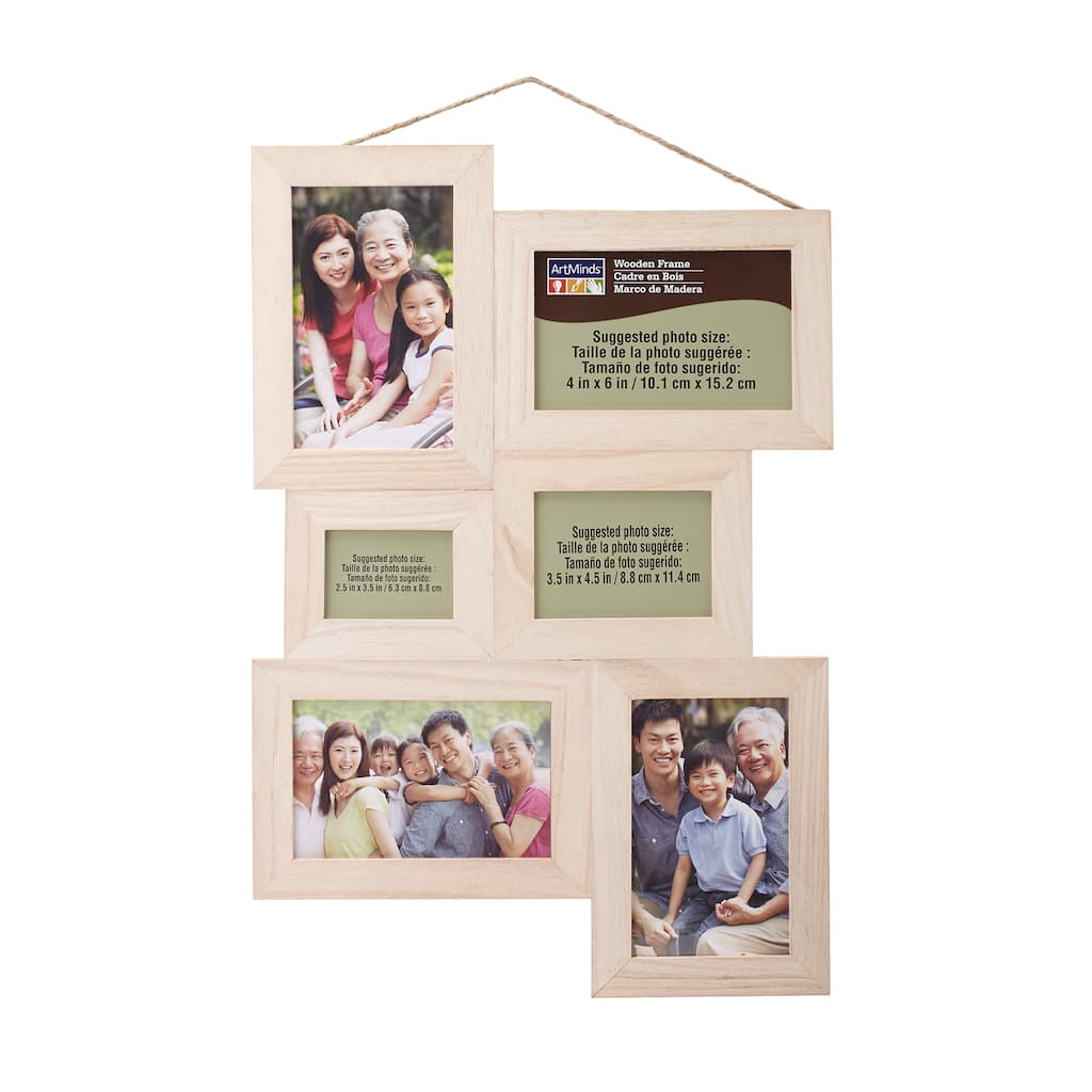 Unfinished Wood Collage Frame by ArtMinds™, 6 Openings