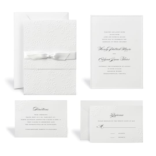 Shop For The Embossed White Wedding Invitation Kit By Celebrate It