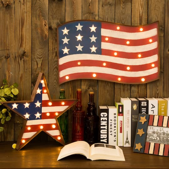 Glitzhome® Patriotic Marquee LED Flag Sign Wall Décor