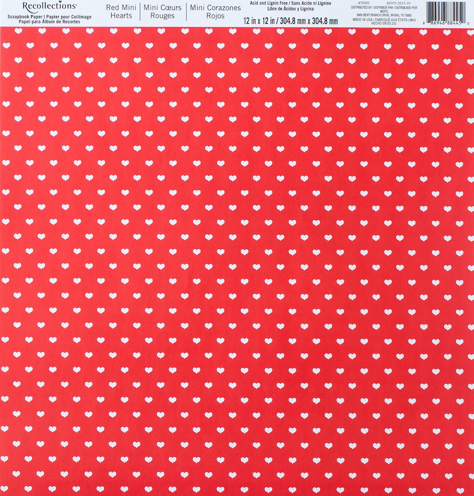Red Mini Hearts Scrapbook Paper By Recollections