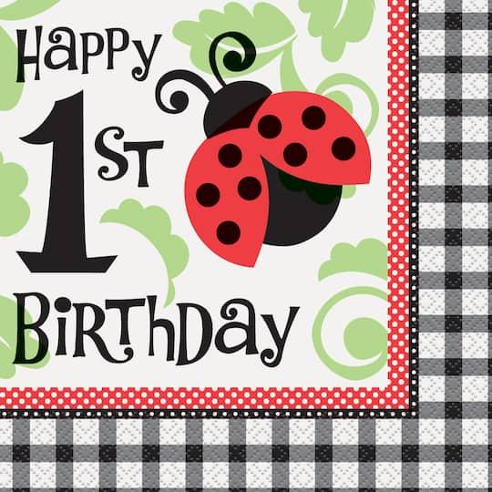 Ladybug First Birthday Party Napkins