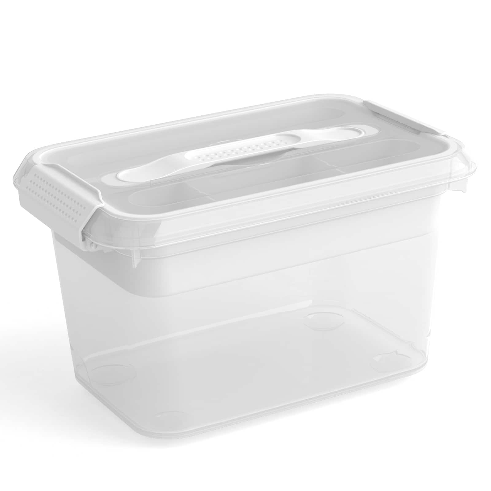 Latchmate White Storage Box With Tray By Recollections™, 6.2 Qt.