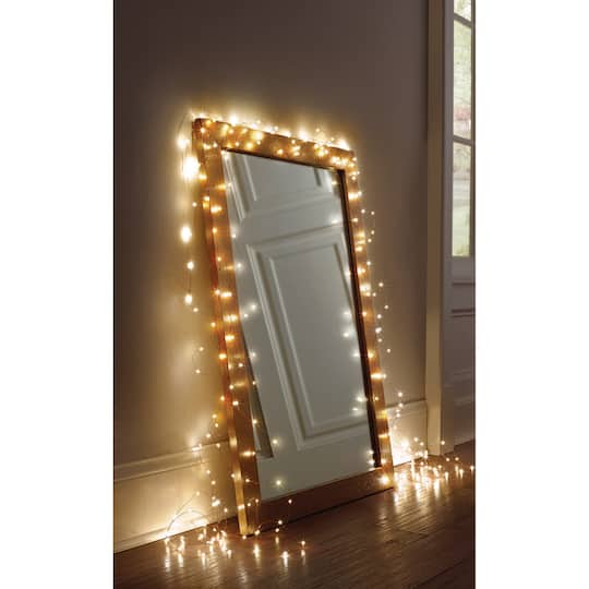 Silver Decorative Micro Led String, Mirror With Lights Around It