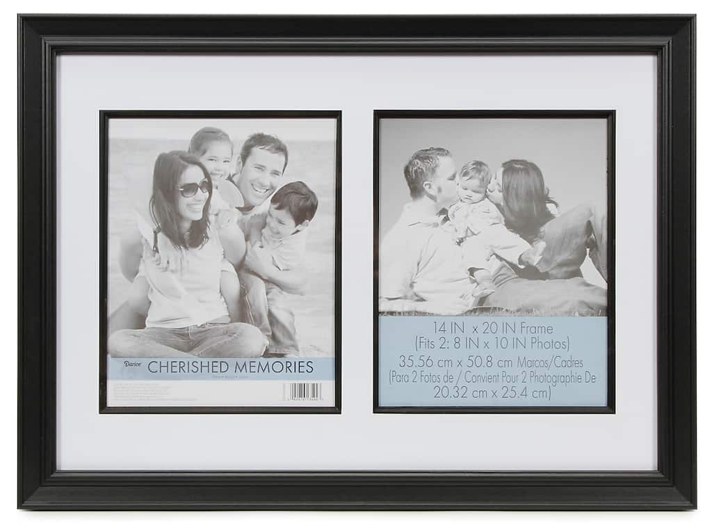 Cherished Memories Double Mat Frame: Black, 14 x 20 inches