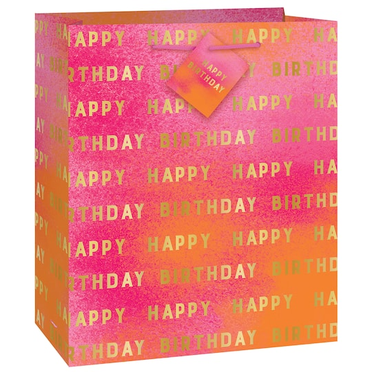 Gold And Pink Ombre Happy Birthday Gift Bag