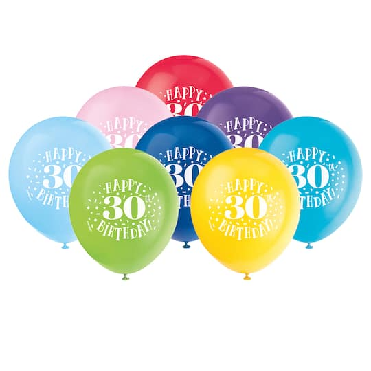 12 Latex Fun Happy 30th Birthday Balloons Assorted 8ct