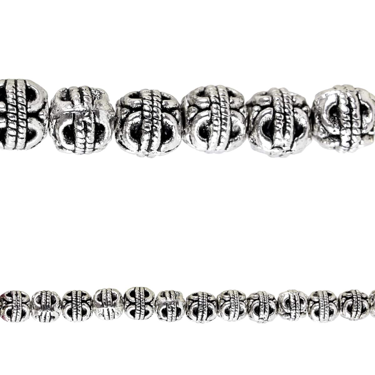 Bead Gallery® Silver Plated Carved Round Beads, 6mm by Bead Gallery