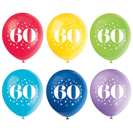 12 Latex Milestone 60th Birthday Balloons Assorted 6ct