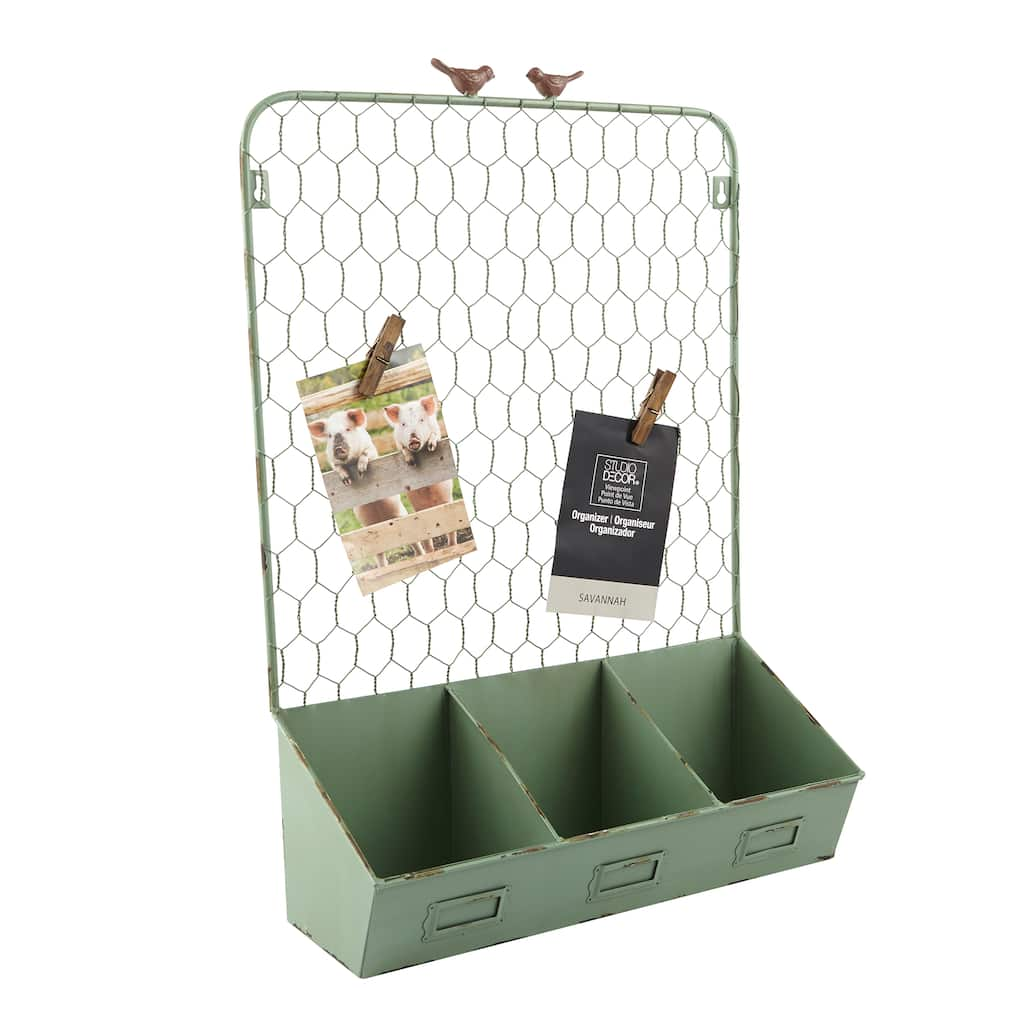 Green Wire Organizer With Bins Savannah By Studio Dcor