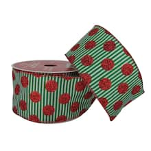 25 taffeta polka dots on stripes wired ribbon by celebrate it noel