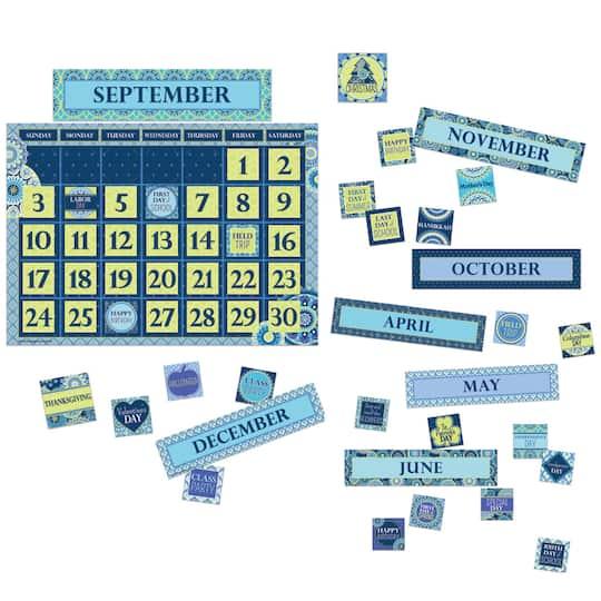 Blue Harmony Calendar Bulletin Board Set