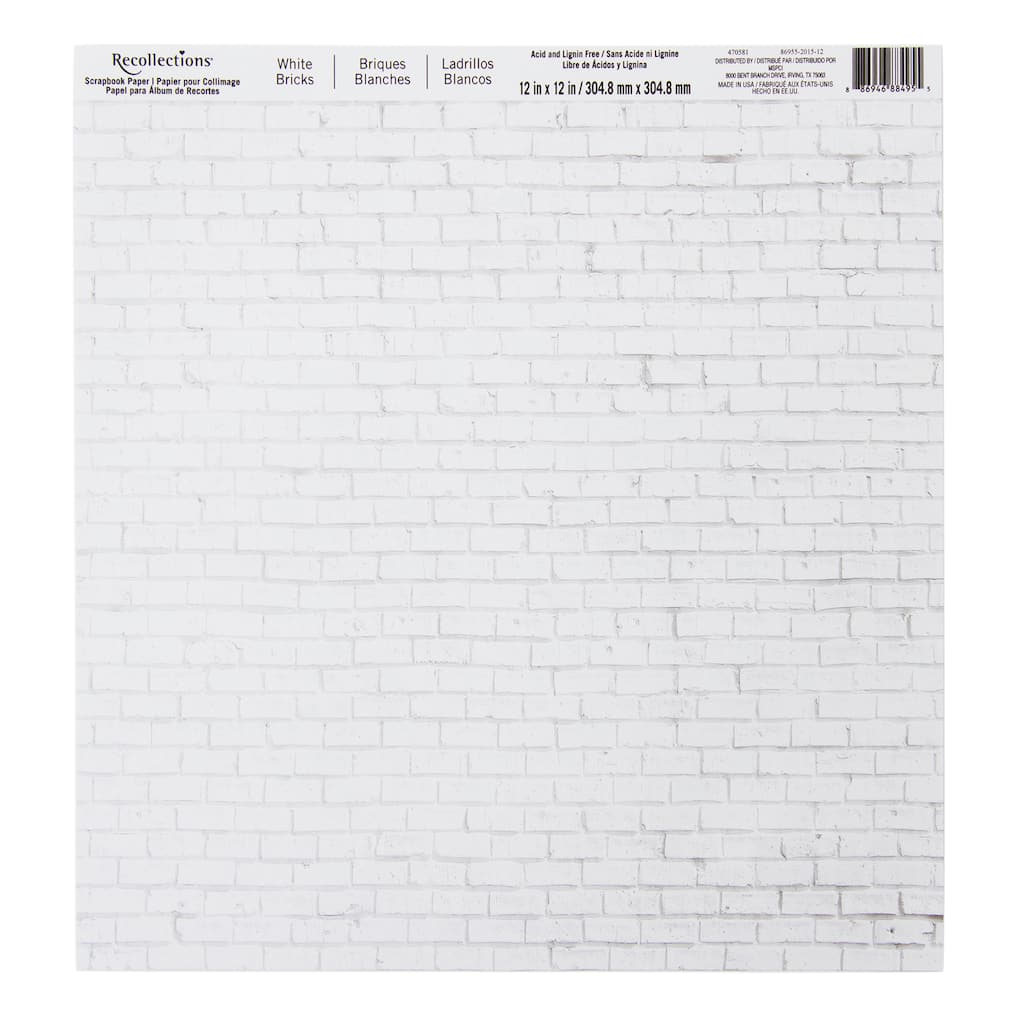 White Bricks Scrapbook Paper By Recollections