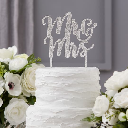 Purchase The David Tutera Silver Cake Topper Mr Mrs At Michaels