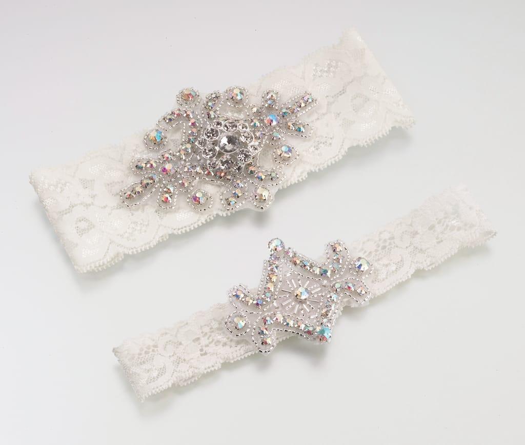 Lillian Rose Jeweled Ivory Lace Wedding Garter Set