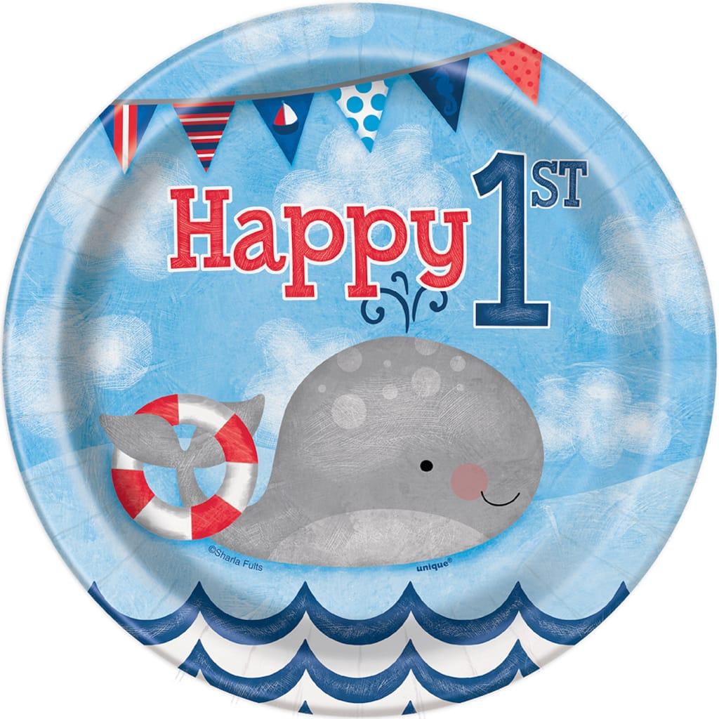 7 Nautical 1st Birthday Party Plates 8ct