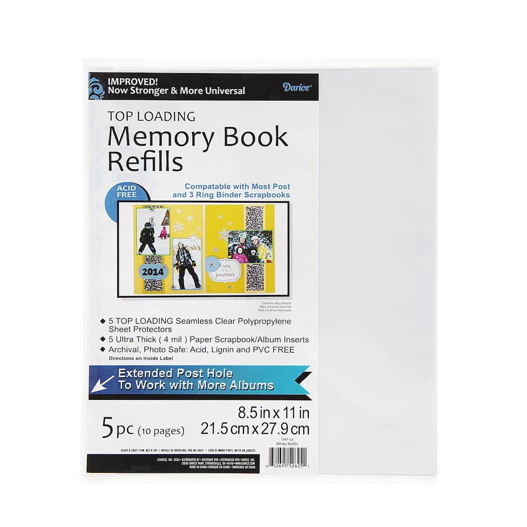 Darice 85x11 Photo Album Refill Pages 5 Pack