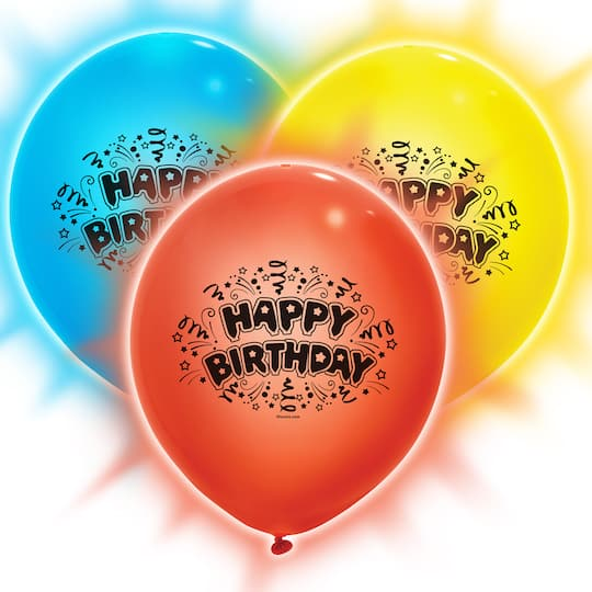 9 Happy Birthday LED Light Up Balloons Primary Colors 3ct Img
