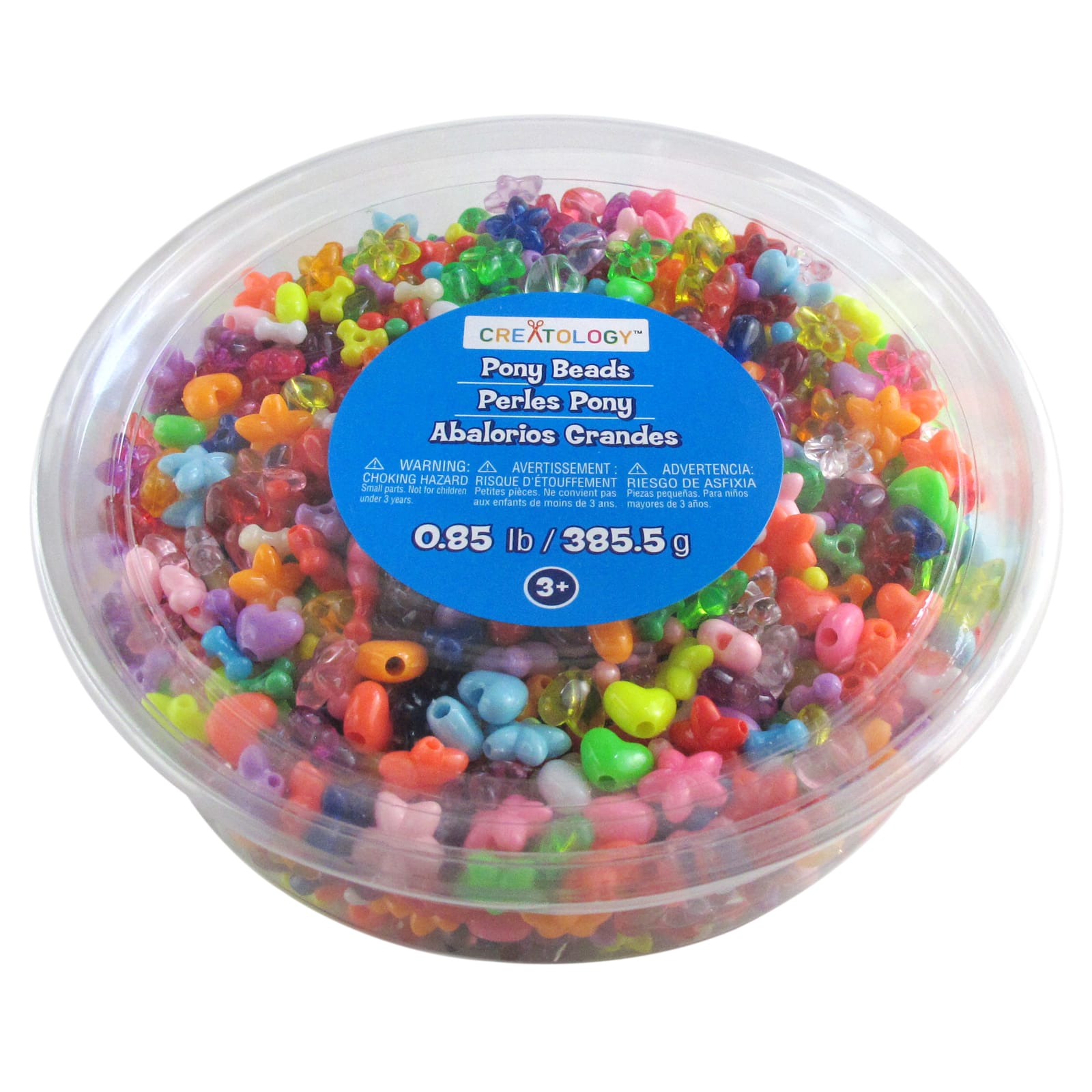 School Smart Plastic Bead Pack o... 3 lb Bucket Assorted Size Assorted Color